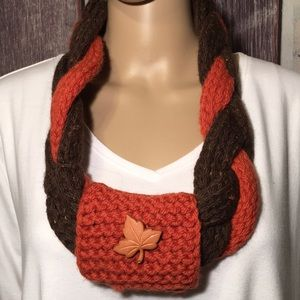 Infinity Scarf Fall Colors w Leaf Button